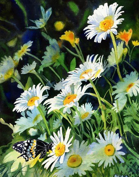 Giclée fleur papillon Daisy marguerites jardin par rachelsstudio, $65.00: