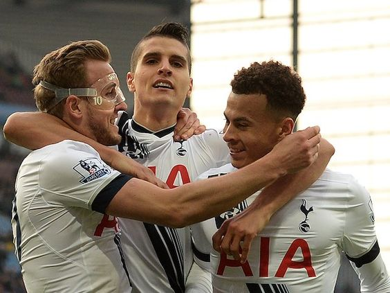 Harry Kane celebrates scoring the second with Erik Lamela and Dele Alli during the Premier League game between Aston Villa and Tottenham Hotspur on March 13, 2016