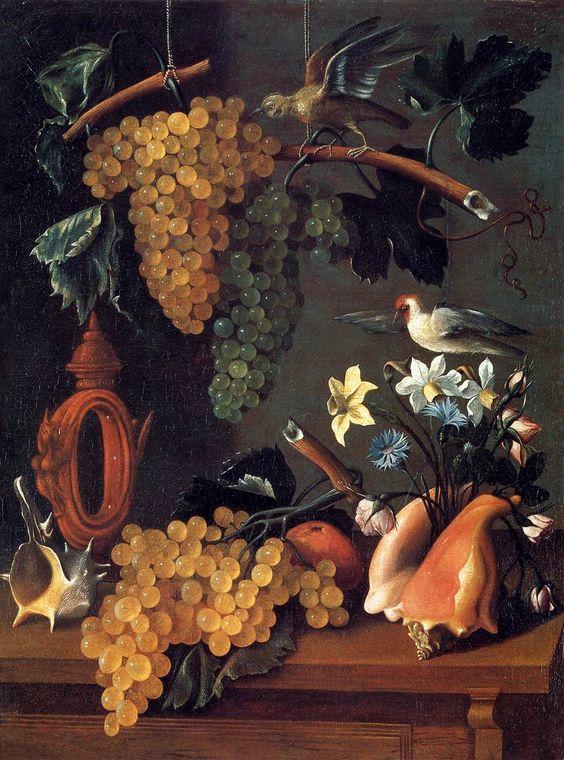 lsuchemist:  baroqueart: Still-Life with Grapes, Flowers and Shells Juan de Espinosa (Spanish, 1590-1641):
