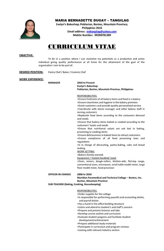 good examples resume objectives objective truck driver sample - pastry chef resume