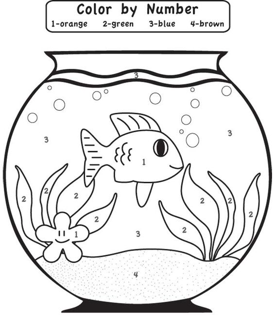 Line Drawing Numbers : Play game fishbowl color by number coloring page for kids