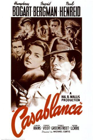 Casablanca es una película estadounidense de 1942 dirigida por Michael Curtiz. Es una de las películas mejor valoradas de la cinematografía estadounidense, ganadora de varios premios Óscar, incluyendo el de mejor película en 1943. La crítica ha alabado las actuaciones carismáticas de Bogart y Bergman y la química entre ellos, así como la profundidad de las caracterizaciones, la intensidad de la dirección, el ingenio del guion y el impacto emocional de la obra en su conjunto.