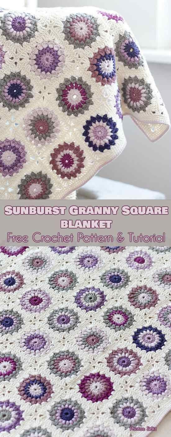Sunburst Granny Square Blanket Free Crochet Pattern #freecrochetpatterns #summerblanket #crochetblanket