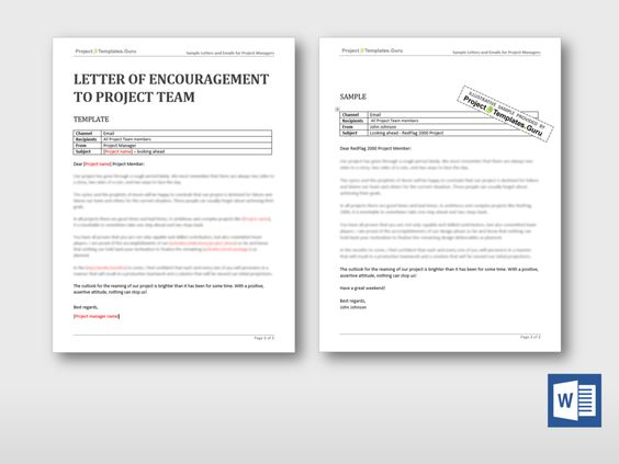 Check out this new Letter of Encouragement to Project Team - encouragement letter template