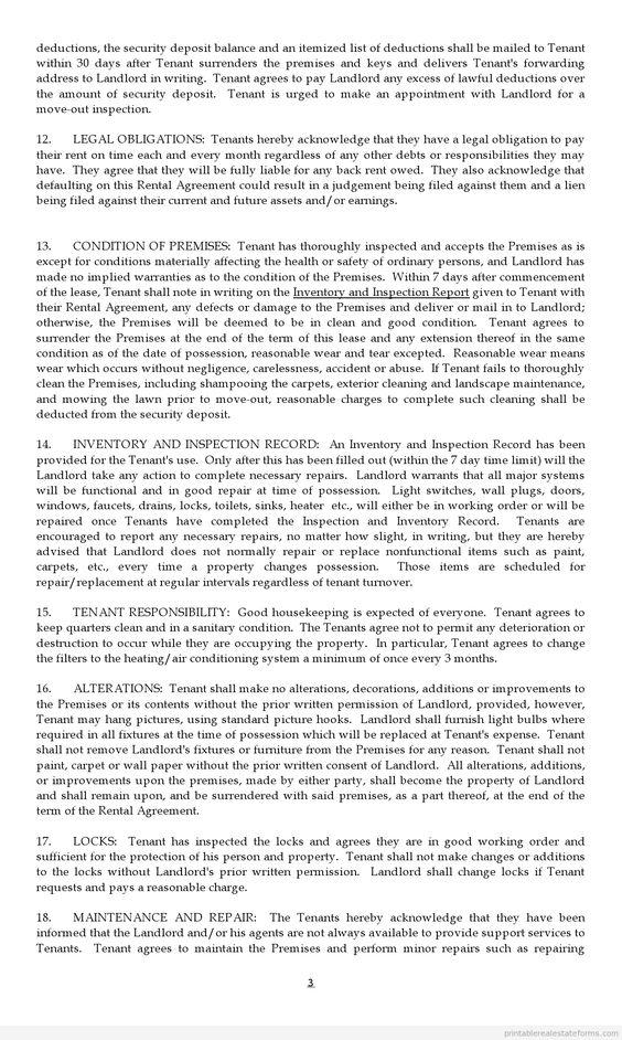 Printable Sample standard lease agreement Form Sample Legal Forms - sample tenancy agreement