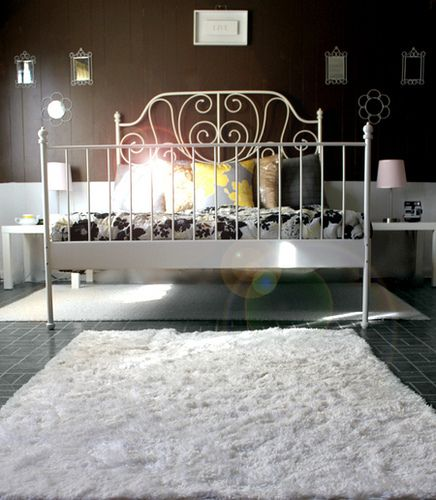 Ikea Bedroom Leirvik Hemnes Is Creative Inspiration For Us: Iron Bed Frames, White Rug And