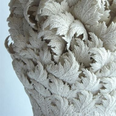 Large Leaves Tower (detail), 2012, Hitomi Hisono. Moulded and hand-built porcelain. Private Collection, London, 2012