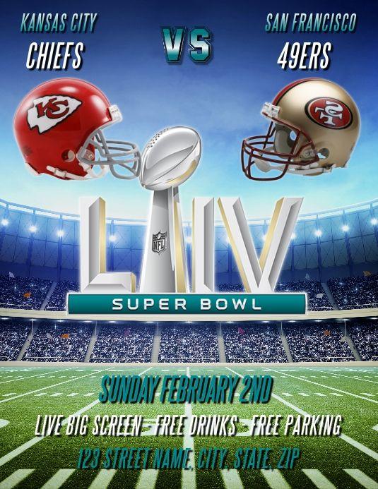 Super Bowl Liv 2020 Party Flyer Template Football Poster Superbowl Poster Super Bowl