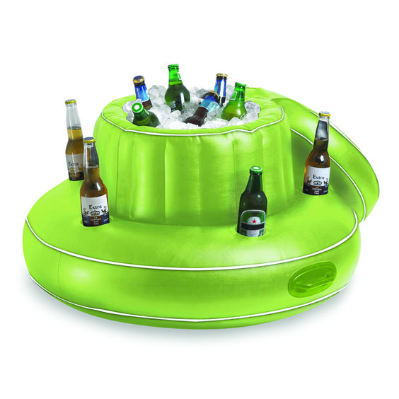 Why come out of the #pool when you can bring the bar to you!The NEWave Arctic Chill Floating Cooler creates an inflatable floating #party bar with 5 cup holders and a center section for ice and drinks.