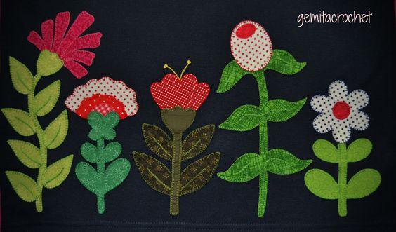 camiseta flores patchwork