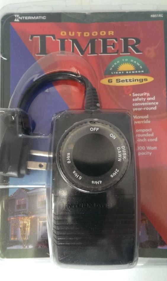 Outdoor Timer With Light Sensor: Intermatic Outdoor Timer Light Sensor Dusk To Dawn 1000 Watt 6 Settings 8.3  Amps,Lighting