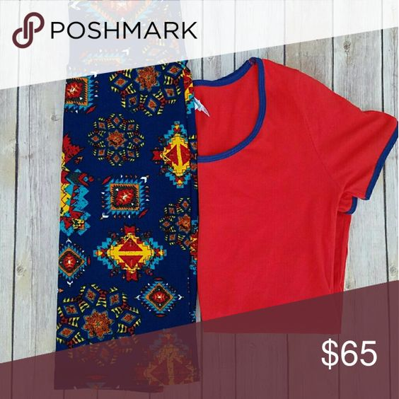 LuLaRoe Outfit XXXS Classic T and XS Cassie. Red classic T with navy blue trim on sleeves and collar. Cassie is blue backgroind with blue and yellow aztec print. LuLaRoe Other