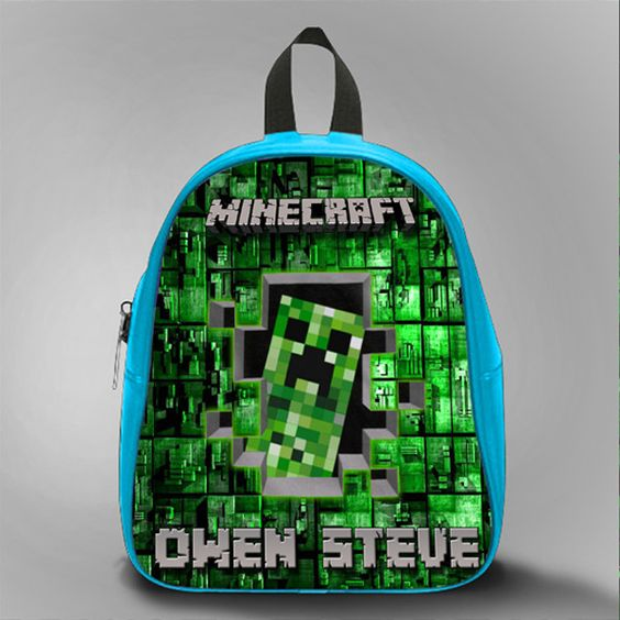 Hello Minecraft With Name, School Bag Kids, Large Size, Medium Size, Small Size, Red, White, Deep Sky Blue, Black, Light Salmon Color