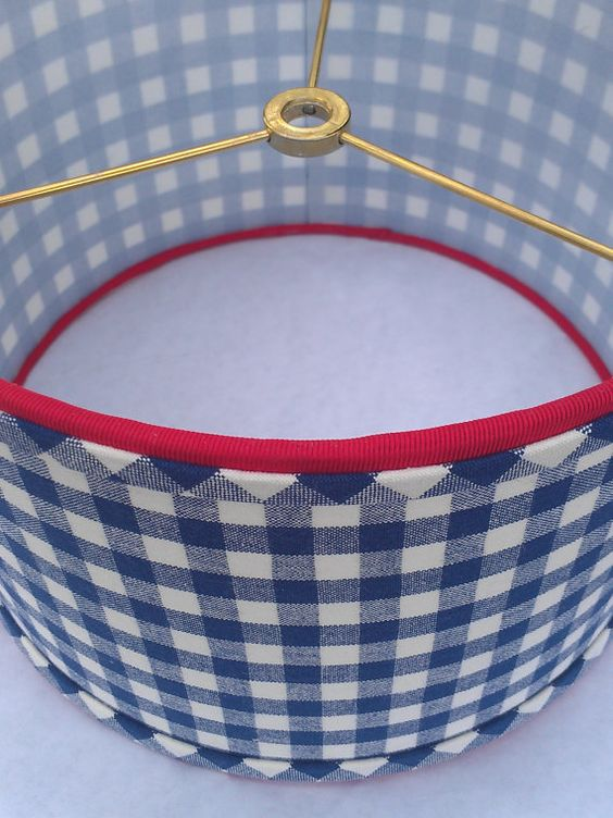 Red Gingham Lamp Shade: Drum Lampshade, Navy Blue Checks, Blue Gingham Fabric, Designer Upholstery,  Red Grosgrain Ribbon, Table Lamp, Pendant Lamp, Clearance Item,Lighting