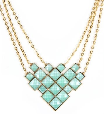 Gold/Mint Diamond Shape Statement Necklace $12