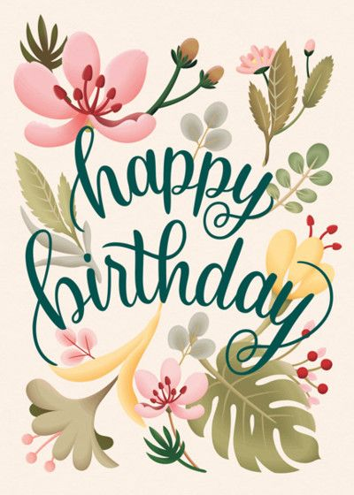Tropical Plants Personalised Birthday Card Free Happy Birthday Cards Happy Birthday Wishes Cards Happy Birthday Messages