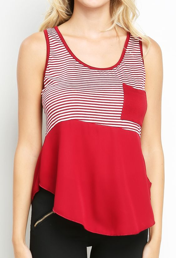 Chiffon Accented Striped Sleeveless Top