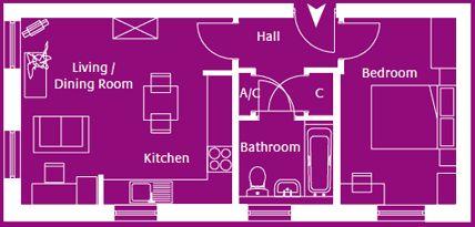 Flat 1, Skylark Apartments, 1 bed apartment on first floor