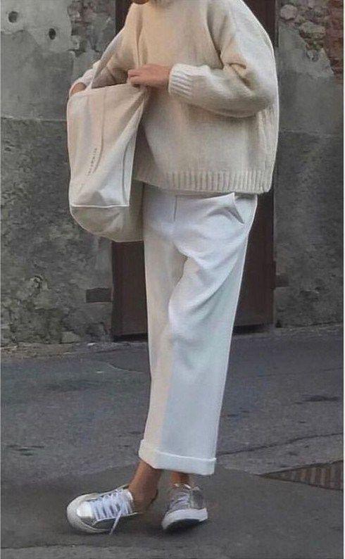 outfits casuales blanco con perla