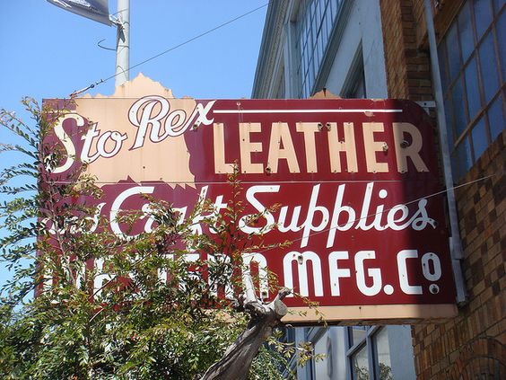 """FontShop is in the same building as a leather supplier who happens to have an awesome sign."" Found by Nick Sherman."