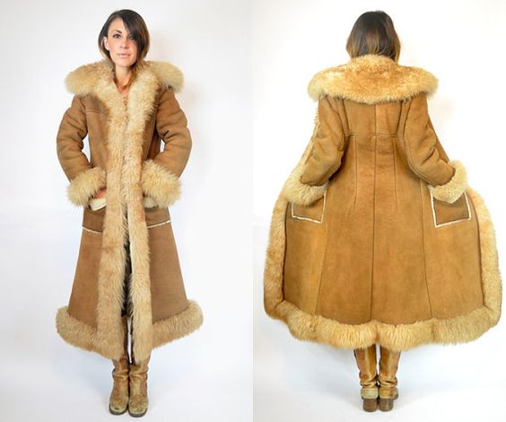 SHEARLING boho hippie PRINCESS suede MAXI coat jacket extra small