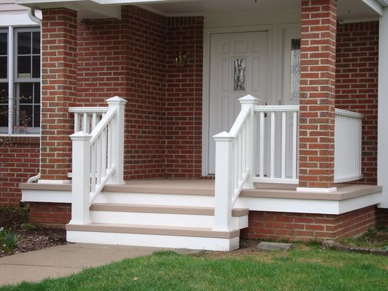 Completed deck project custom design small front porch - Front porch designs for brick homes ...