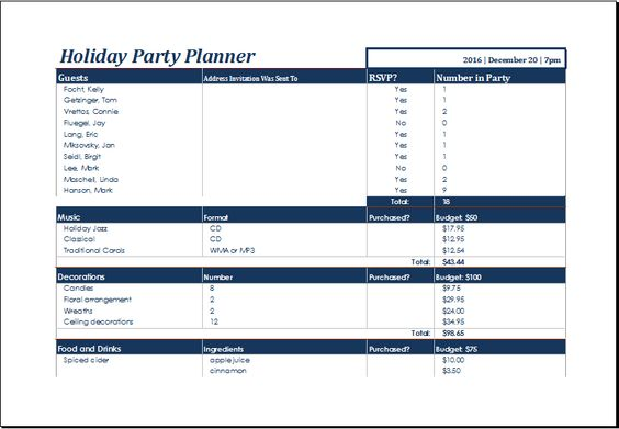 holiday party planner template at xltemplatesorg Microsoft - inventory worksheet template