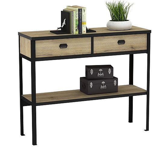 Console Harlem Imitation Chene Et Noir Table Console But En 2020 Console Console But Mobilier De Salon
