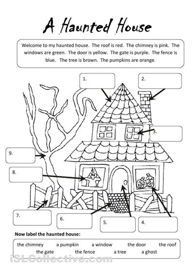 Printables Free Printable Esl Worksheets a haunted house worksheet islcollective com free esl worksheets