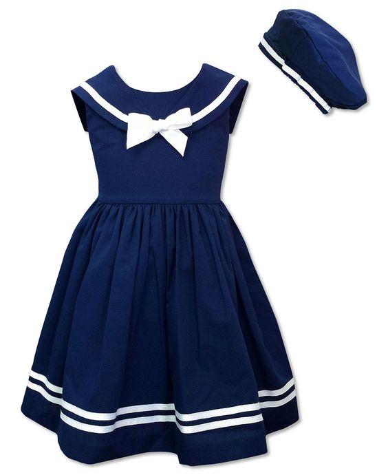 Jayne Copeland Kids Dress- Little Girls Sailor Dress and Beret ...