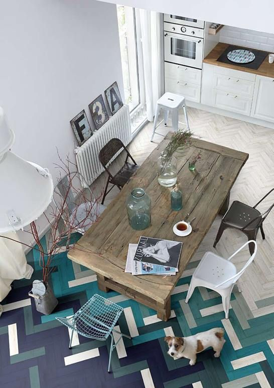 modern + industrial + rustic dining room with awesome turquoise and purple parquet flooring: