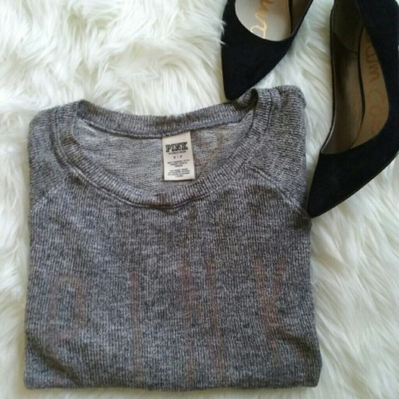 PINK VICTORIA SECRET NET SWEATER Knitted grey vs sweater. With the word PINK written in pink Tops Tees - Long Sleeve