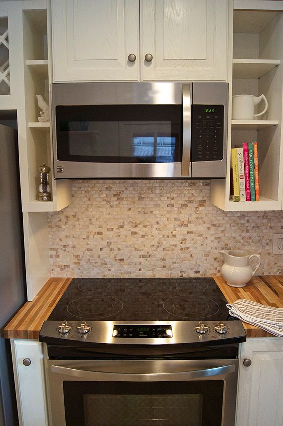 Slide-in stove, range, kenmore, microwave, stainless steal, kitchen, cottage, country, renovation.