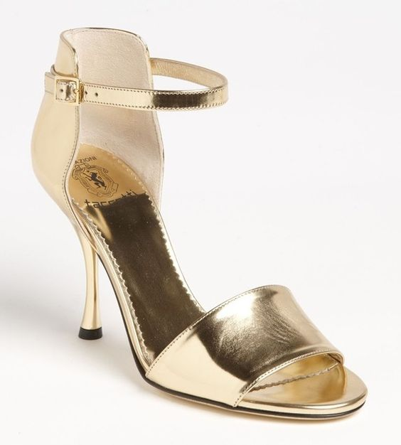 shiny gold heels with t-strap | Heels So Awesome | Pinterest ...