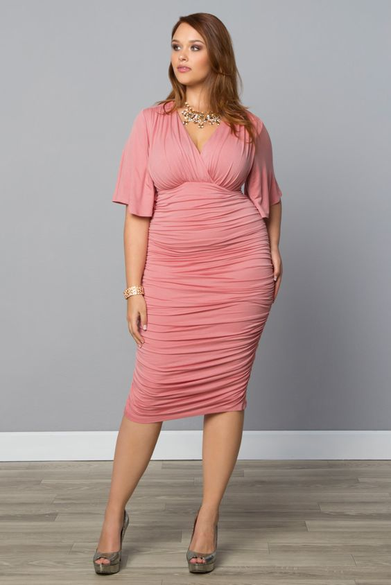 Ruched dress plus size and plus size clothing on pinterest for Plus size wedding dresses online usa