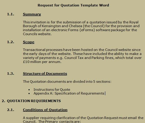 Get Request for Quotation Template Word Projectemplates – Quotation Templates for Word