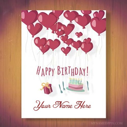 Write Name Beautiful Heart Birthday Wish Card Image Birthday