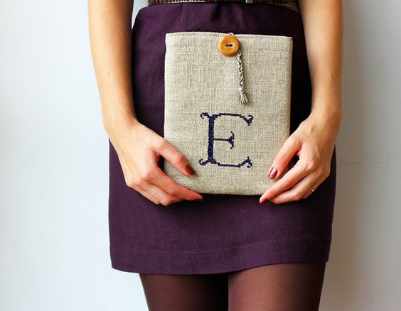 10 tablet case initial E dark blue embroidery by GalaBorn