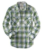 Classic plaid shirt, but look for brighter colors or more retro feel if you don't want such a classic look