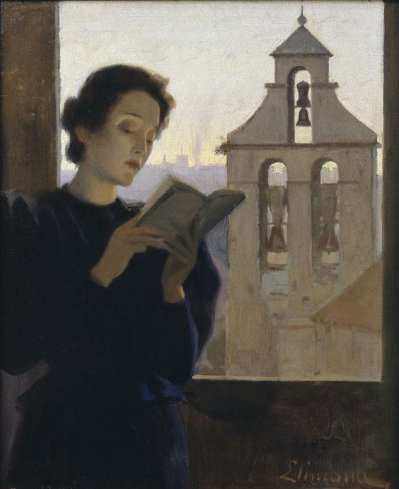 Girl Reading (1900-1905). Joan Llimona (Spanish, 1860-1926). Oil on canvas. Museu Nacional d'Art de Catalunya.: