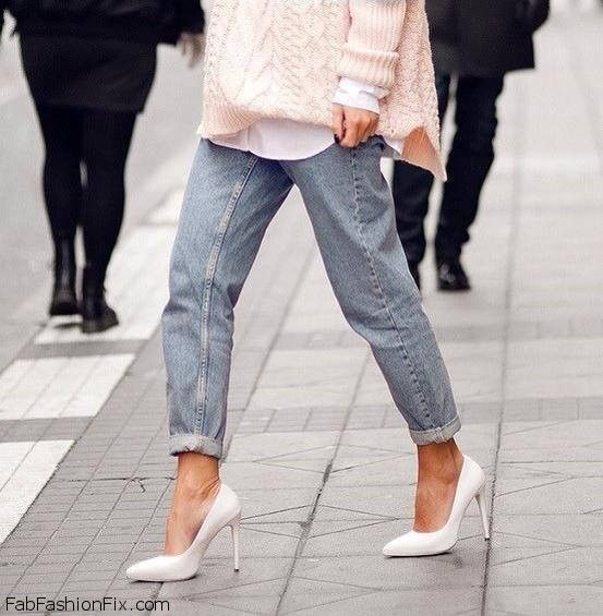 Boyfriend jeans and white pointed heels for spring style | CHIC ...