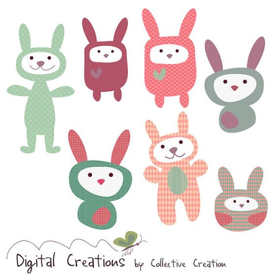Rabbit Plushie Digital Clipart Set Ideal By CollectiveCreation, $5.20 Cute  Contemporary Modern Simple Illustration Print