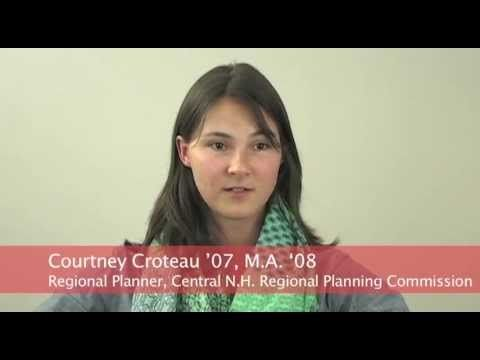 Courtney Croteau '07, M.A. 2008, who majored in International Development and Social Change Major and received her Masters in Community Development & Planning, is a regional planner at the Central New Hampshire Regional Planning Commission in Concord, NH. http://www.clarku.edu/return-on-education/profiles/croteau.cfm