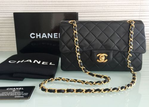 Auth Vintage Chanel 9 Black Lambskin Gold Chain Sz Small Classic Double Flap Chanel Chanel Bag Gold Chain Handbag