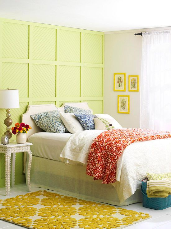 We love the mixture of colors and patterns in this energetic bedroom! More of our favorite real-life bedrooms: http://www.bhg.com/rooms/bedroom/master-bedroom/25-of-our-favorite-real-life-bedrooms-/?socsrc=bhgpin082812colorfulpatternbedroom#page=18