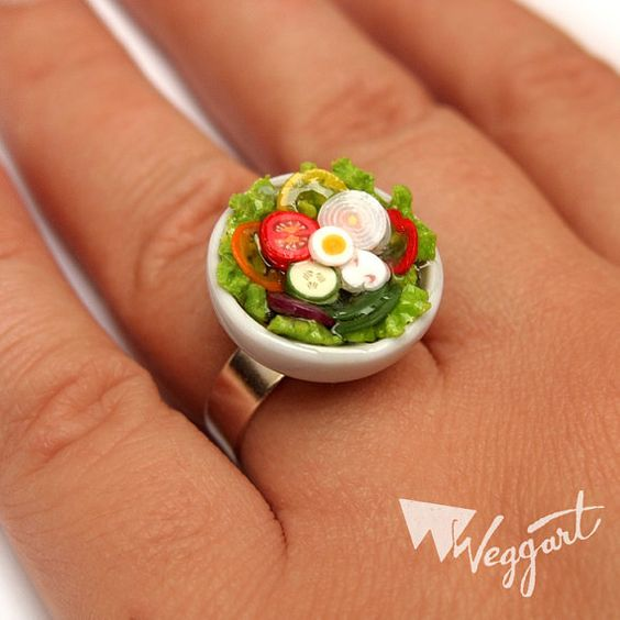 I should wear this to remind me to eat a salad each day...LOL  Fresh & Crunchy Salad Ring by weggart on Etsy, $14.00