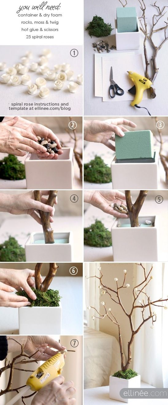 Galho de árvore + Flor de papel + Bom gosto Lindo arranjo para decoração de…: