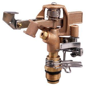 Orbit Sprinkler System 1/2-Inch Brass Impact Head with 25-40-Foot Coverage 55032 by Orbit. $13.18. Anti-backsplash arm. 1/2 In. male threaded. For outdoor use with cold water only. Covers areas from 20 Ft. to 40 Ft. radius in a part or full circle. Works with most 1/2 In. impact or impulse heads. From the Manufacturer                The Brass Impact Head works with or replaces 1/2 In. impact or impulse heads. It covers areas of 25 Ft. to 40 Ft. radius and can be adjust...