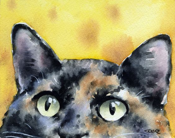 Tortie Cat Art Print Tortoiseshell Watercolor by k9artgallery   WATERCOLOR
