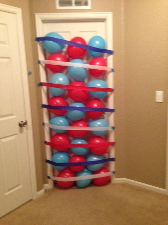 Birthday balloon door surprise! Color coordinated even!